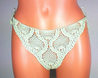 sexy string in the pineapple pattern, light-green, crocheted top, size M