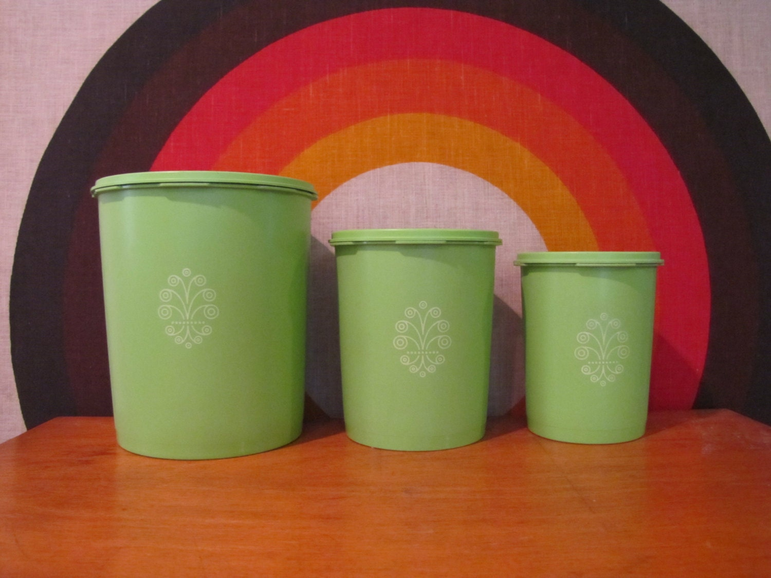 Vintage Tupperware Canister Set Green Tupperware by CapeCodModern