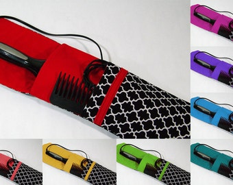 Insulated Curling Iron, Flat Iron, Hair Iron Travel Case in Cotton Lattice Print and Your Choice of Interior Color
