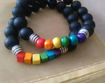 Black agate bracelet with pride rainbow gay pride rainbow rainbow chakra circular or square