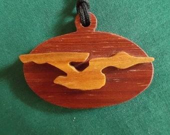 Star Trek Jewelery, Starship Enterprise Pendant, Handmade two toned Wood Necklace, Cosplay Pendant, Trekkie Gift