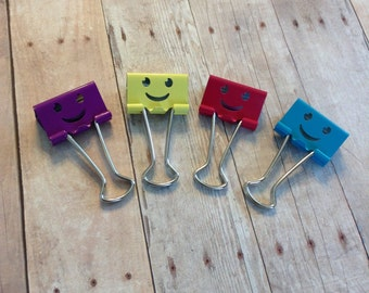 4 Happy Binder Clips - ready to ship!!