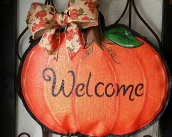 Pumpkin hand painted burlap door hanger, great for fall, can be personalized free