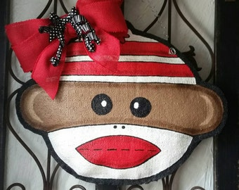 Sock Monkey, burlap door or wall hanging, nursery decor, baby's room decoration. Party decorations