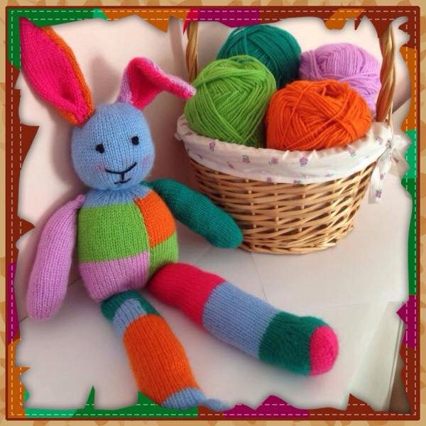 Knitting Patterns For Toy Rabbits : Patchwork bunny knitting pattern toy rabbit knitting