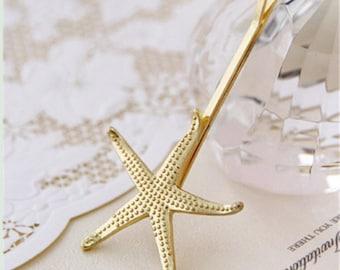Gold Starfish Hair Pin  cute beach accessory