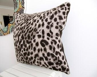 Leopard print Pillow cover,Animal print ,knitted pillow case,Dark brown- Beige Light Grey pillow Cover,18'' x 18'' ,45cm x 45cm