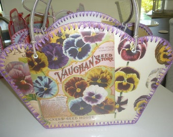 Retro style bag with vintage images of beautiful pansies