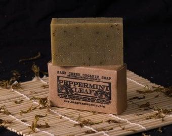 Peppermint Leaf Bar Soap, essential oil soap, organic soap, natural soap