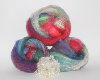 Wool Fiber Spinning Batt Stripes of Color Batts