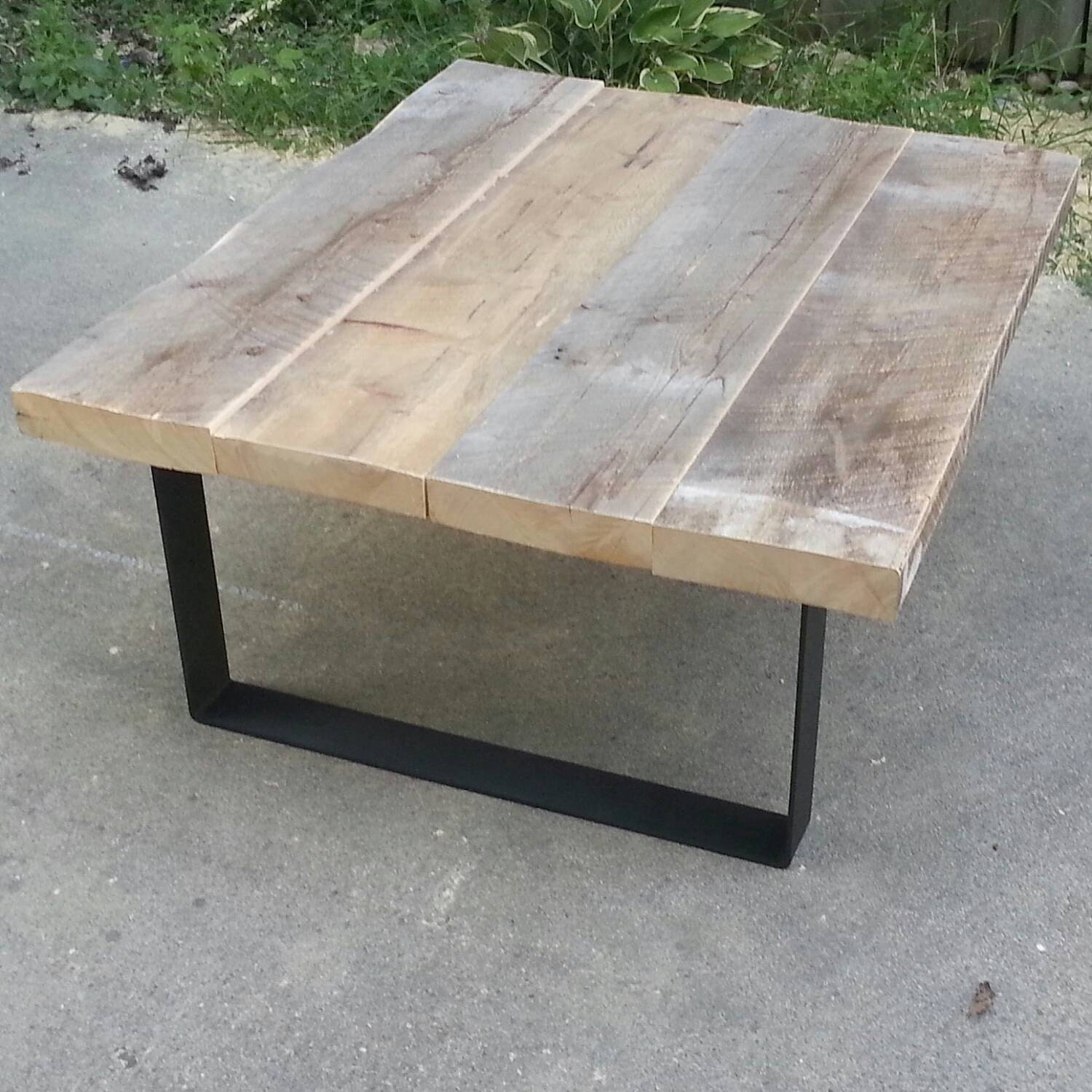 Reclaimed Wood Coffee Table With Steel Legs By TablesForaSteel