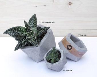 Set of 3: Geometric Concrete Planters, Concrete Planter, Concrete Planters, Minimalist style, Planter, Concrete planter