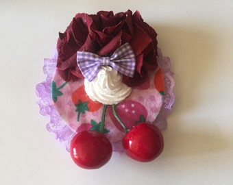 Delightful Desserts Burgundy Roses, Purple Bow