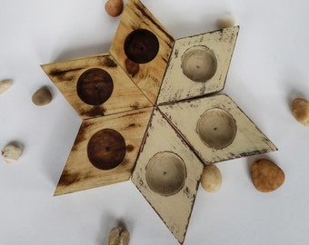 """Wooden """"Rhombus"""" candle holders in variety"""