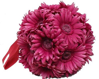 "Kissing Pomander ball decorations  10"" made of Gerbera daisy great wedding decorations"