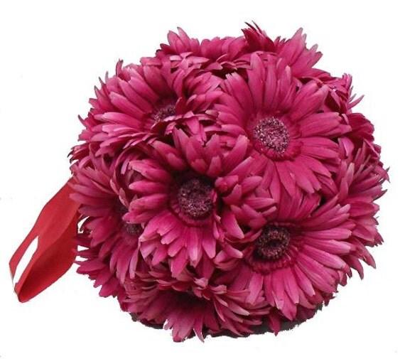 "Kissing Pomander ball decorations  10"" made of Gerbera daisy great wedding decorations"