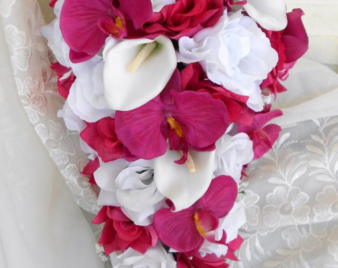 Pink  bridal silk cascade bouquet made of Orchids and roses bouquet pink white ivory  12pc free toss
