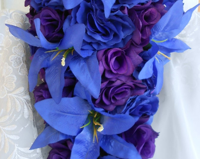 Silk Royal blue and purple tiger lilies and roses cascade bouquet royal  FREE small 5x5 toss