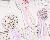 Mum to be rosette badge - Baby shower badge - Rosette badge - Floral Mum to Be -