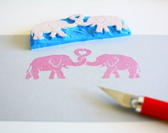 Valentine's Day handcarved elephant love stamps