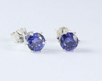 Tanzanite Silver Stud Earrings / Tanzanite Round Brilliant Cut in 100% Eco Friendly Recycled Sterling Silver Earrings for YOU!