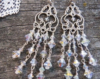 Brides Earrings, Chandelier Earrings, Bridesmaids Earrings, Swarovski Earrings, Wedding Earrings, Chandelier Earrings, Victorian Jewelry