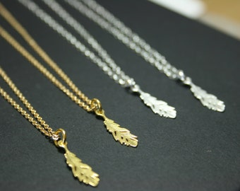 Delicate feather pendant necklace. Sterling silver / gold feather charm necklace