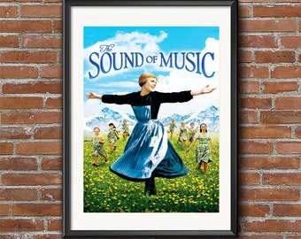 The Sound of Music - Vintage Movie Poster,Musical, Cult Film,  Classic Hollywood,Cinema, Julie Andrews, Salzburg Wall Art Print
