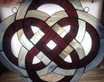 Custom made stained glass celtic knot