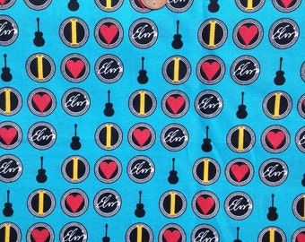 ELVIS Presley Fabric, The KING, Rock and Roll ~100% Cotton Fat Quarter /FQ