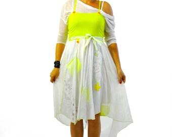 White cotton dress skirt/Casual woman skirt/Summer cotton dress/Asymmetrical dress/Skirts with pockets/Long white skirt/Summer dress/D1401