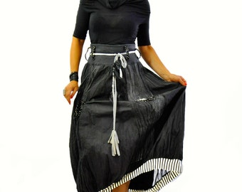Black long cotton taffeta skirt/Woman skirt with pockets/Casual skirt/Handmade black skirt/Long taffeta skirt/Maxi skirt/S1361