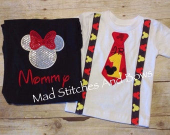 Custom embroidered Mickey Mouse birthday tie and suspenders  shirt with mommy Minnie Mouse shirt.