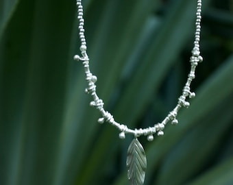 Pure Silver Leaf Necklace