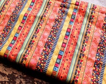 Vintage Bohemian Style Colorful Stripe Linen Cotton Fabric for Cloth Table Runner Quiltting Home Decor 1/2 yard f22