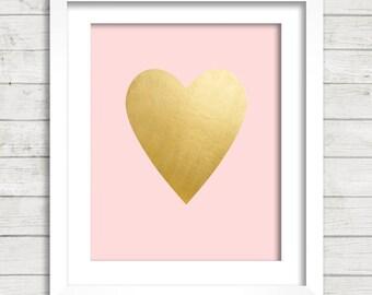 Gold Foil Heart Pink Background Digital Printable Wall Decor- Instant Download