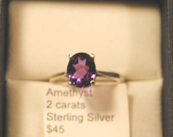 African Amethyst Faceted Oval Sterling Silver Ring