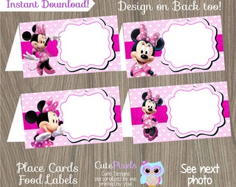Minnie Mouse Place Cards, Minnie Mouse Food Labels, Minnie Mouse Birthday, Minnie Mouse Party, Minnie Mouse Tent Cards