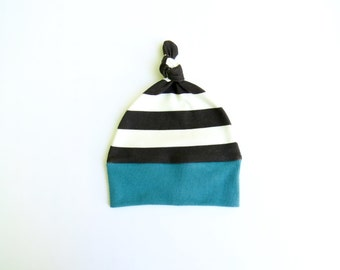 Baby knot hat 100% certified organic knit cotton. Newborn beanie. Geometric pattern. Modern baby hat.