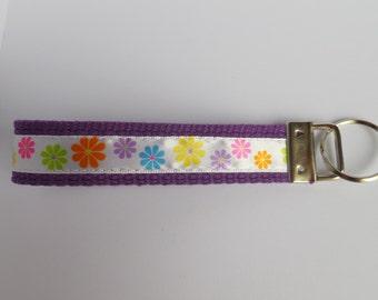 Purple Key Fob with Flowers