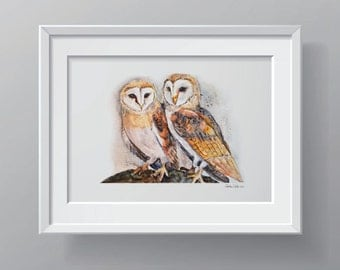 Owl Watercolor - Art Print - Painting of Two Owls