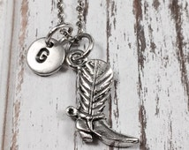 Cowboy boot necklace, cowgirl charm necklace, personalized necklace, initial, boot necklace, monogram, boot charm