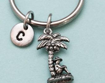 Palm tree keychain, Palm tree charm, beach keychain, beach charm, personalized keychain, initial keychain, initial charm, monogram