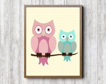 Instant Download - Printable Owl Wall Art - Kids Room / Nursery Wall Decor - Bird Art - Digital Artwork - Pink - Mint Green
