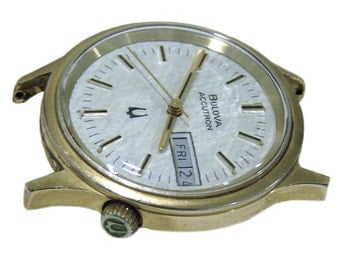 Vintage Bulova Accutron 2193.10 Day Date Gold Plated Tuning Fork USA Mens Watch