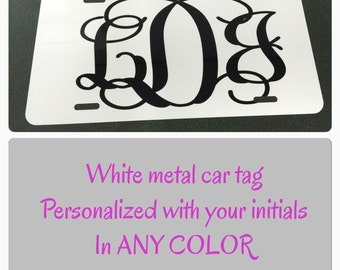 White monogram License plate white monogram car tag personalized car tag personalized license plate initials black red