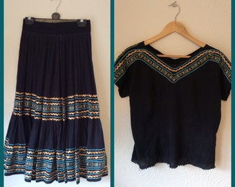 Beautiful 50s Mexican cheesecloth skirt and top XS/S