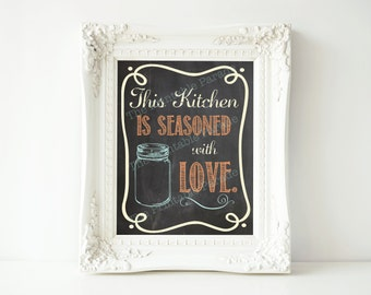 "Colorful Mason Jar Chalkboard Kitchen Seasoned with Love Printable 8x10"""