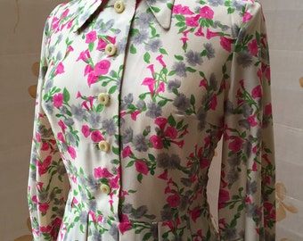 1970s vintage floral silk shirtdress