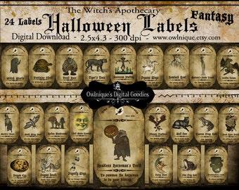 Vintage Apothecary Halloween Labels, Digital Download, Halloween tags, Vintage Apothecary Labels, Halloween bottle Decorations
